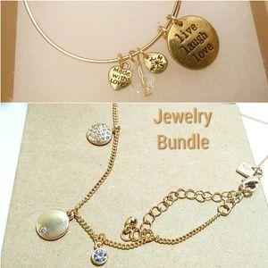 Dainty gold necklace & bracelet bundle